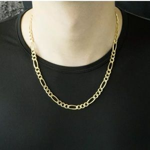"""New Real Gold Figaro Chain Men's 5.5MM Thick 24"""""""